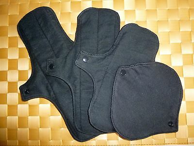 BLACK Chickadee Reusable cloth menstrual pads - available in 4 sizes