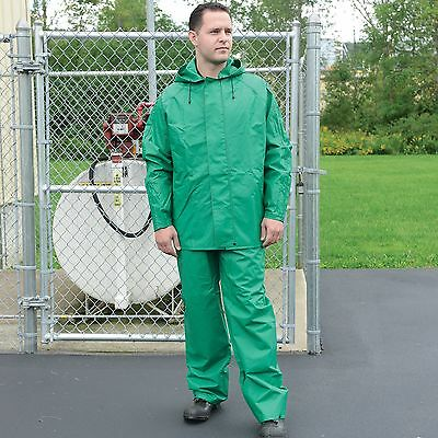 NS Protective Apparel Green Chemical & Flame-Resistant 2-Piece Rain Suit Only