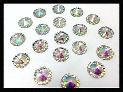 100 Faceted 10mm Glitterati Rhinestone AB Crystals to SEW or Stick on 4 Crafts