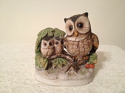 Owl figurine HOMCO Home Interiors Owl FigurineMother with Two Baby Birds  #1298