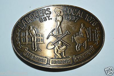 WOW Vintage Laborers Local 1076 Justice Honor Strength Brass Belt Buckle Rare
