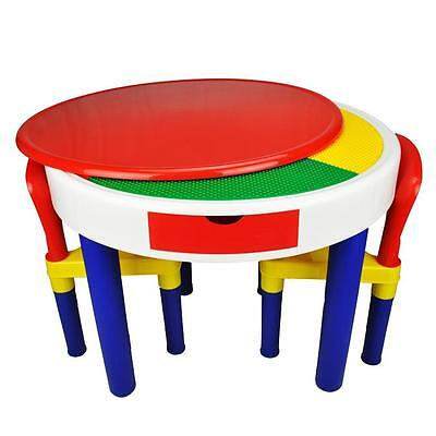 Large Children Kids 2-in-1 Block Building Multi-coloured Round Table Chair Set