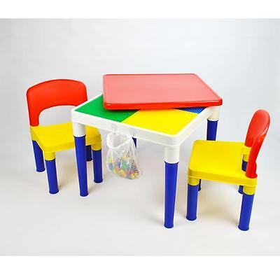 Children Kids 2-in-1 Block Building Multi-coloured Plastic Table Chair Set