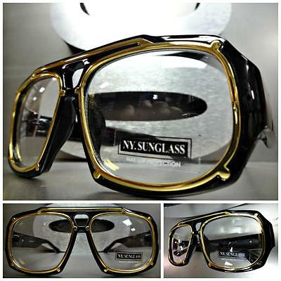 Mens CLASSIC VINTAGE RETRO Style Clear Lens EYE GLASSES Thick Black & Gold Frame