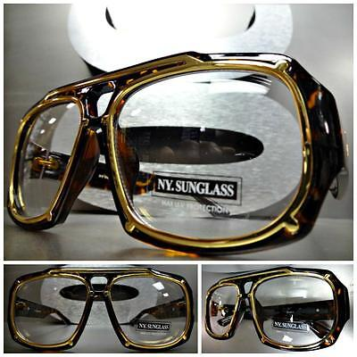 CLASSIC VINTAGE RETRO Hip Hop Style Clear Lens EYE GLASSES Tortoise & Gold Frame