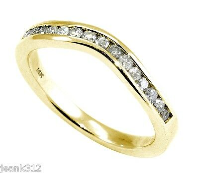 CURVED Diamond Wedding Band Ring 0.30 Carat 14K Yellow Gold Channel set