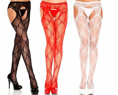 BOW LACE SUSPENDER Pantyhose - 3 COLORS O/S & PLUS