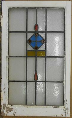 "LARGE OLD ENGLISH LEADED STAINED GLASS WINDOW Pretty Drop Design 20.5"" x 34.25"""