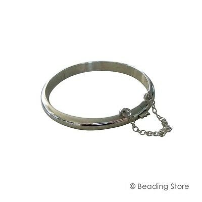 Various Size 925 Sterling Silver Childs Baby Shiny Bangle Bracelet Safety Chain