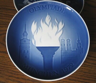 Olympic Games, Munich 1972, First issue collector plate, blue torch, Denmark B&G