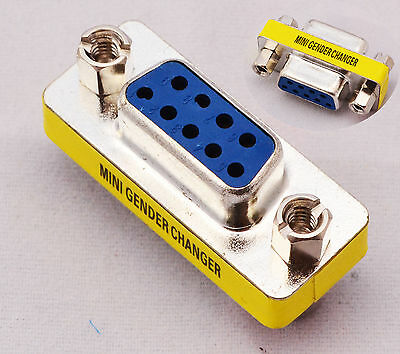 Serial RS-232 DB9 9 Pin Female to Female F/F Gender Changer Coupler Adapter
