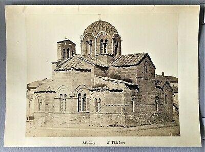 large vintage albumen photo Greek Saint Theodore church Athens Greece ca 1875