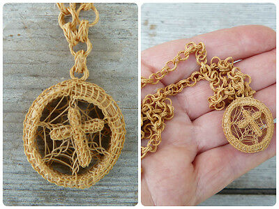 Victorian French Horsehair Chain & cross Necklace
