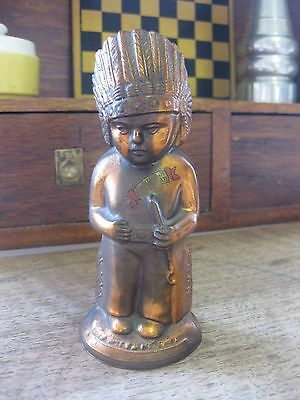vintage copper or brass INDIAN BOY WITH RIFLE piggy bank - native american ANCO
