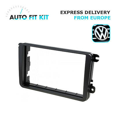VW Golf Touran Passat Tiguan EOS 2 Din Double Facplate Fascia Frame Panel Dash