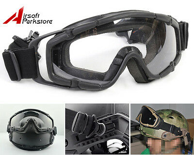 Airsoft Paintball Tactical Military Goggle Glasses Black for Helmet w/Side Rails