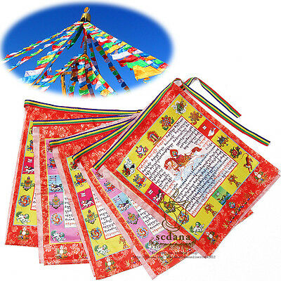 Colorful Tibetan Buddhist Prayer Flags 135 Inch Long Longda Auspicious Scripture