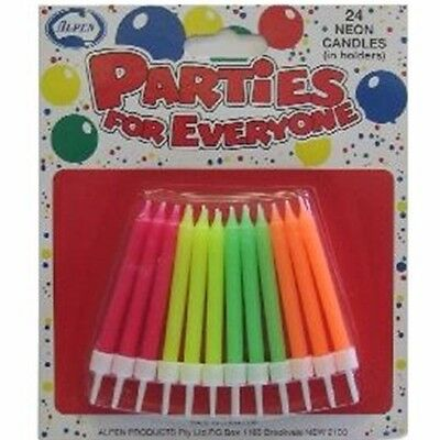 Alpen NEON Birthday Candles 24Pk With Holders 431125