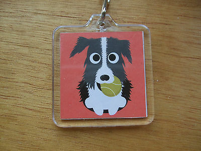 My Collie Loves Flyball Keyring Dog Puppy Bag Acrylic Red Training Ball Sport