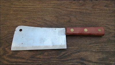 UNUSED Vintage AUSONIA Italy Chef's Carbon Steel Meat Cleaver Knife w/Cherry