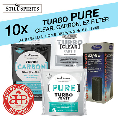 10 Still Spirits Turbo Pure Yeast Turbo Clear Turbo Carbon & EZ Carbon Homebrew