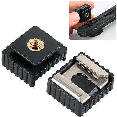 """Metal Flash Hot Shoe Mount Adapter to 1/4"""" Thread For Studio Light Stand Tripod"""