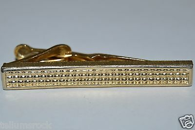 WOW RARE Old Vintage Swank Brass/Gold Tone Metal Tie Clasp Unique Art Design