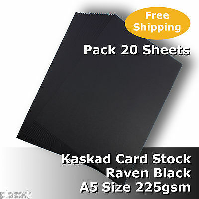 20 Sheets Kaskad Raven Black A5 Size Card Stock 225gsm Acid Free #N0205 #D1