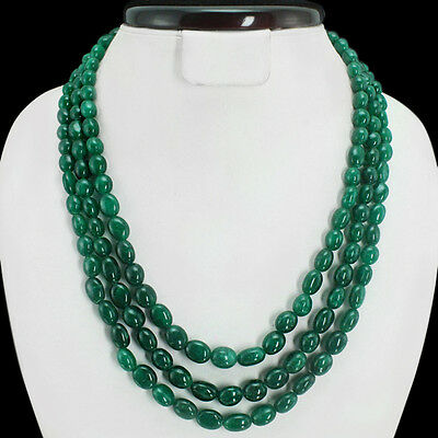 GENUINE ATTRACTIVE 533.00 CTS EARTH MINED 3 LINE GREEN EMERALD BEADS NECKLACE