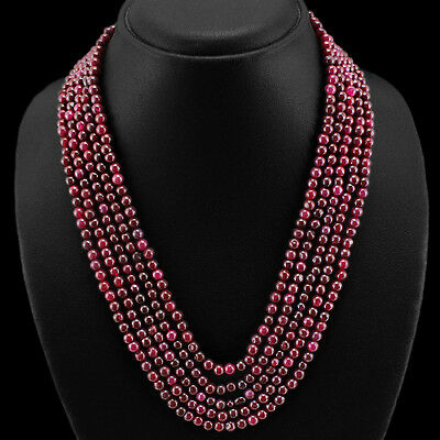 WONDERFUL STRIKING 424.00 CTS EARTH MINED 5 STRAND RED RUBY ROUND BEADS NECKLACE