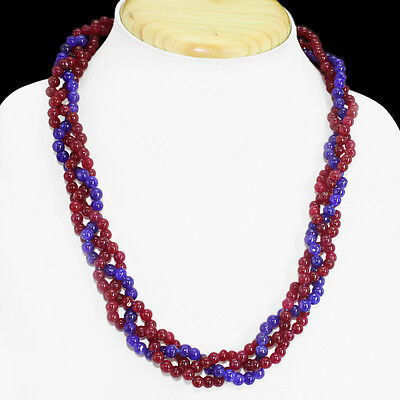 EXCLUSIVE MARVELLOUS 258.00 CTS NATURAL RUBY & SAPPHIRE BEADS NECKLACE STRAND