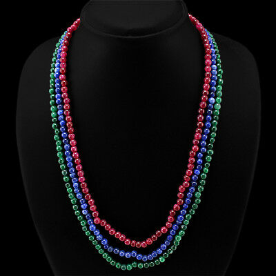 EXCELLENT GENUINE 267.00 CTS EARTHMINED RUBY, EMERALD & SAPPHIRE BEADS NECKLACE