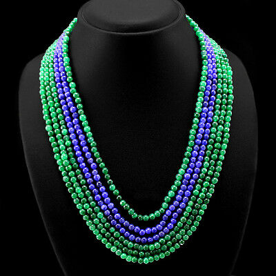 MOST OUTSTANDING 478.50 NATURAL 6 LINE EMERALD & BLUE SAPPHIRE BEADS NECKLACE