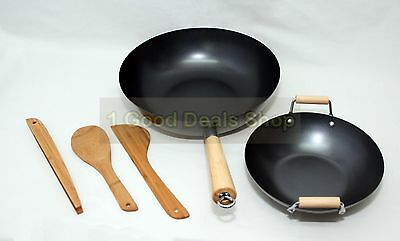 5pc Piece Wok Set Wooden Handle Non Stick Stir Fry Pan Cooking Aluminium 15126