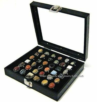 1 Key Lock Locking Glass Top Lid Black 36 Ring Display Portable Storage Box Case