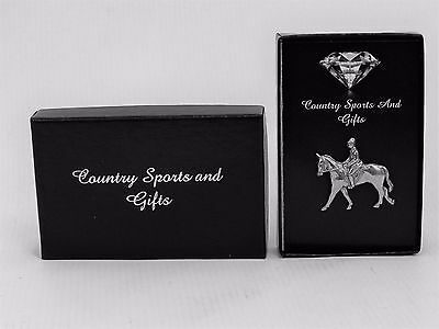 Horse & Rider English Pewter Lapel Hat Pin Badge -  Ideal Gift