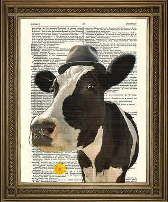 COW PRINT: Black and White Friesian 'Pink Floyd' Cow Art on Old Dictionary Page