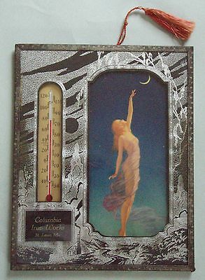 Gorgeous Columbia Iron Works, St. Louis Advertising Thermometer Beautiful Lady