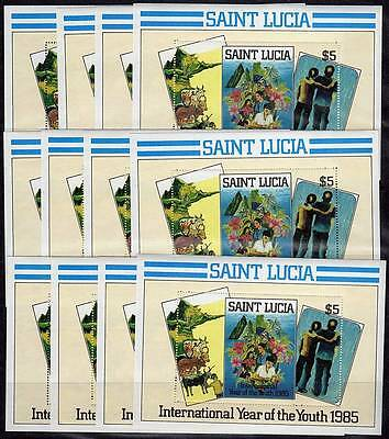 ST.LUCIA 1985 YEAR of the YOUTH = SAMUEL LYNDON PAINTINGS x12 S/S WHOLESALE