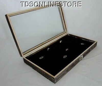 Rustic Antique Coffee Color 72 Ring Glass Top Display Case Black Insert