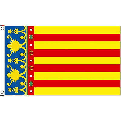 Valencia Flag 5Ft X 3Ft Spain Spanish Region Banner With 2 Eyelets New
