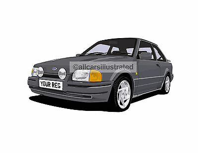 Ford Escort Rs Turbo 90 Spec Car Art Print (Size A4). Personalise It!