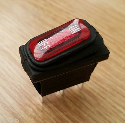 Red Rocker Switch Single Pole 16A Waterproof Bellow Seal