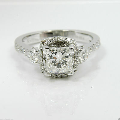 1.72 cts Princess Cut Solitaire Forever Engagement Ring Solid 14k White Gold