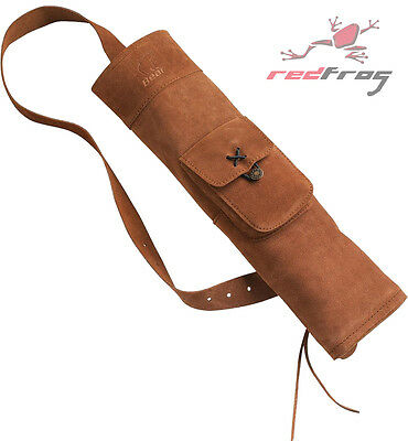 New BEAR Traditional Archery Suede Leather Back Quiver Longbow Flat Bow Clought