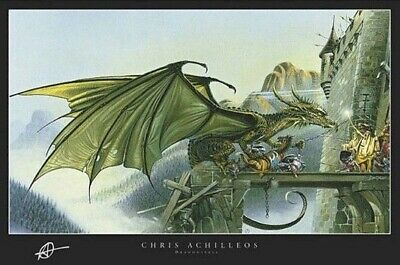 DRAGON DRAWBRIDGE BATTLE ~ 24x36 FANTASY ART POSTER ~Chris Achilleos Dragonspell