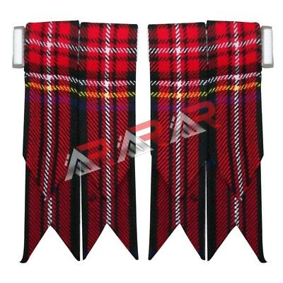 Brand New Black Stewart Tartan Kilt Flashes with Heavy Buckle