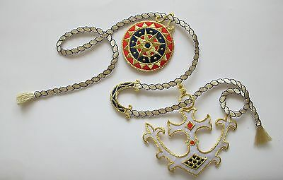 #2812 Red,White,Silver Marine Anchor,Gold Chain Embroidery Appliques Patch