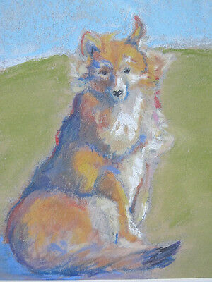 "Original ""COLLIE"" Dog Portrait Pastel Painting Impressionist Signed H. Wills yqz"