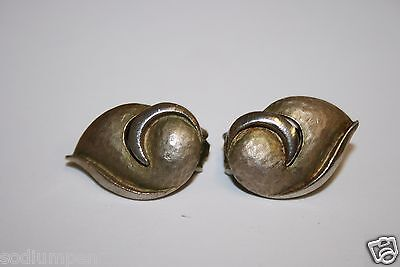 Old Vintage Unique Art Deco Abstract Brass & Silver Tone Clip On Earrings Swirl
